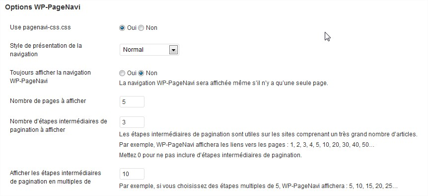 WordPress plugin Page Navi options