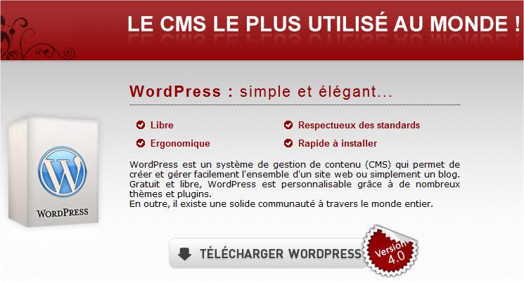Site Wordpress francophone pour télécharger le CMS Wordpress